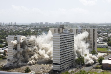 building imploding